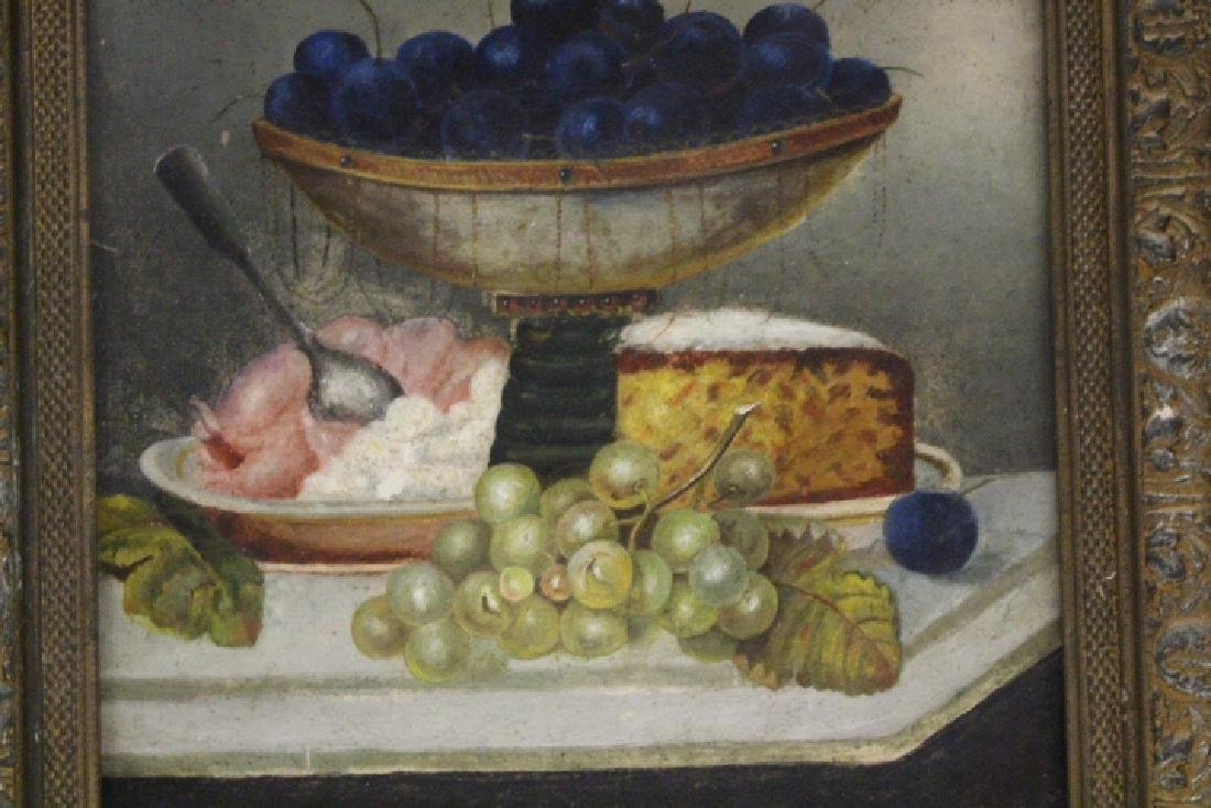 19th C Still Life Painting of Fruit & Cheese on Table - 2