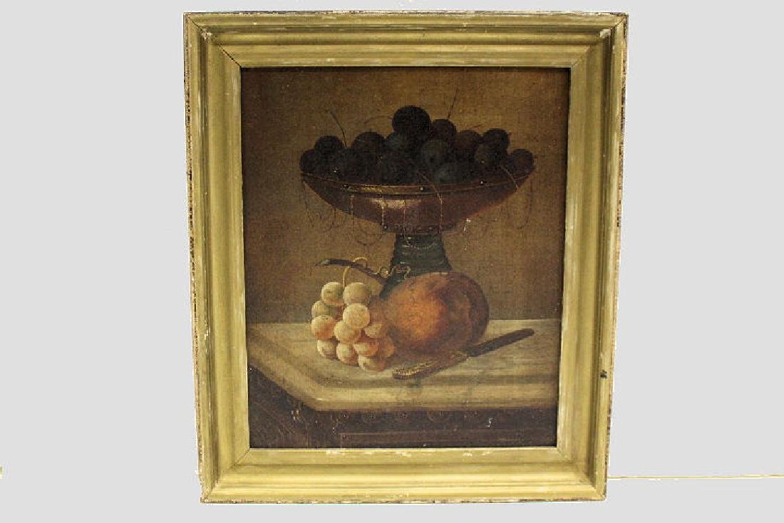 19th C Still Life Painting of Fruit in Compote