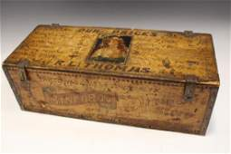 Folk Art Advertising Box Made from Wooden Signs