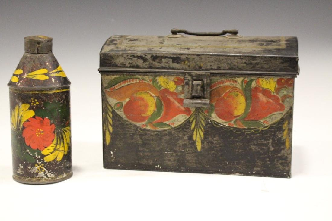 19th C Toleware Document Box & Canister