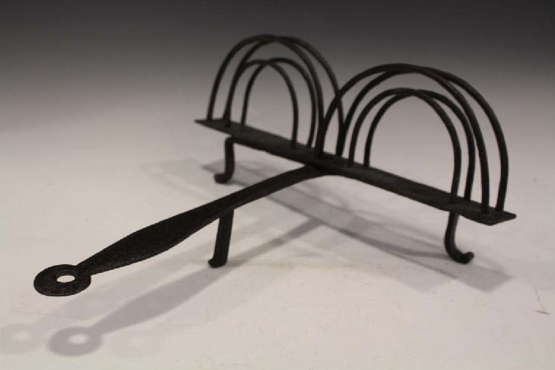 19th C Hearth Wrought Iron Rotating Toaster