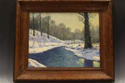 Oil on Board Contemporary Woods in Winter Landscape