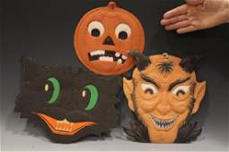 1930s Halloween Diecuts  Devil Cat JackoLantern