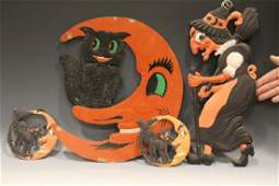 1930s Halloween Diecuts Witch  Lot of 3 Cats in Moons
