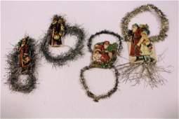 Santa  Father Christmas Tinsel  Scrap Ornaments