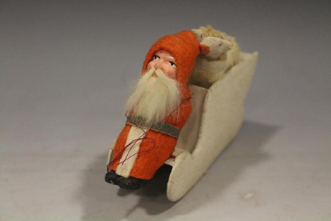 Santa Candy Container on Mica Covered Sled Germany