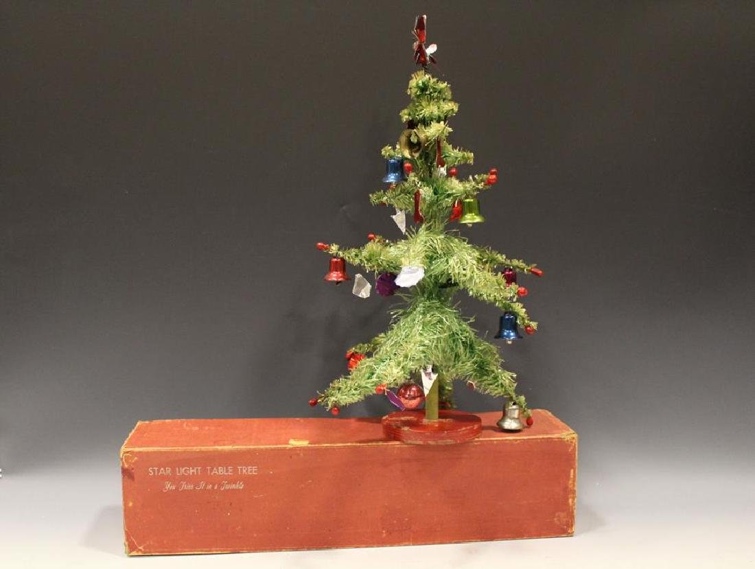 1930-50s Decorated Tabletop Christmas Tree in O/ Box