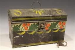 19th C Toleware Document Box w Lock  Key