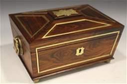 19th C Rosewood w/ Gilt Metal Inlays Writing Box