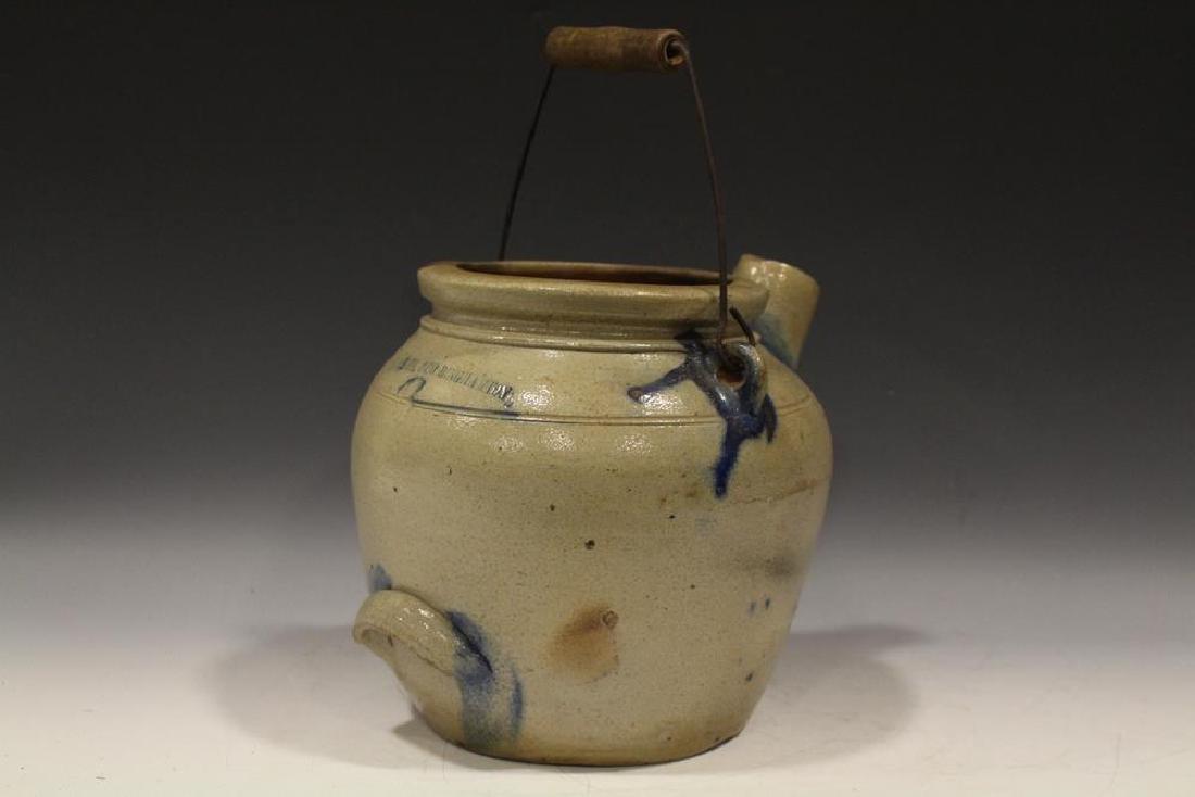 19th C. N. White Stoneware Batter Jug w/ Cobalt