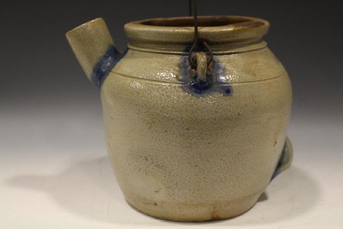 19th C. N. White Stoneware Batter Jug w/ Cobalt - 3
