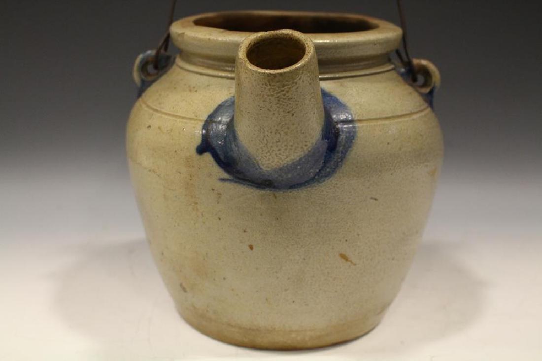 19th C. N. White Stoneware Batter Jug w/ Cobalt - 4