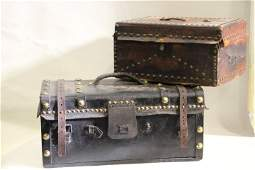 1850-80s Leather-Covered Small Trunks