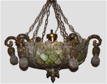 Monumental Bronze & Stained Leaded Glass Chandelier
