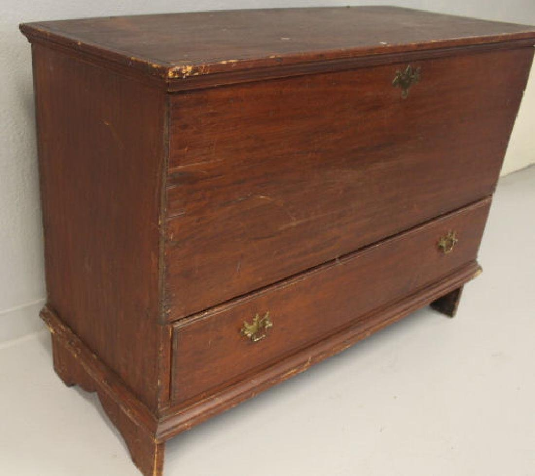 18th C  Blanket Chest / Box - Original Red Stain & - 3