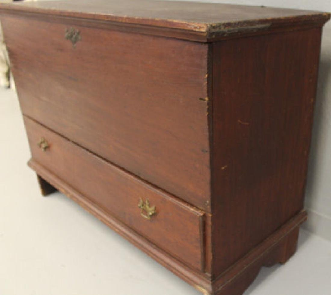 18th C  Blanket Chest / Box - Original Red Stain & - 4