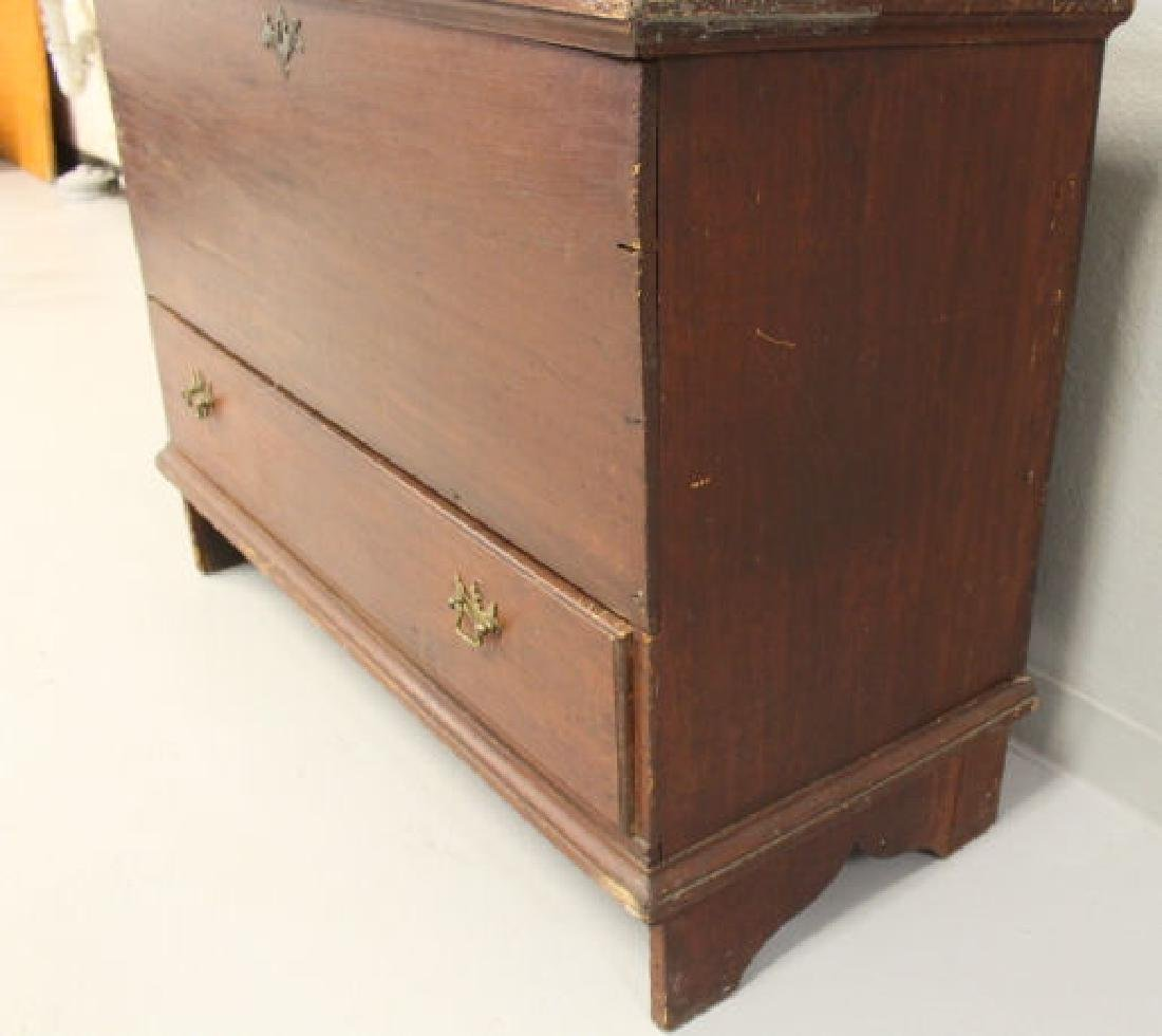 18th C  Blanket Chest / Box - Original Red Stain & - 8