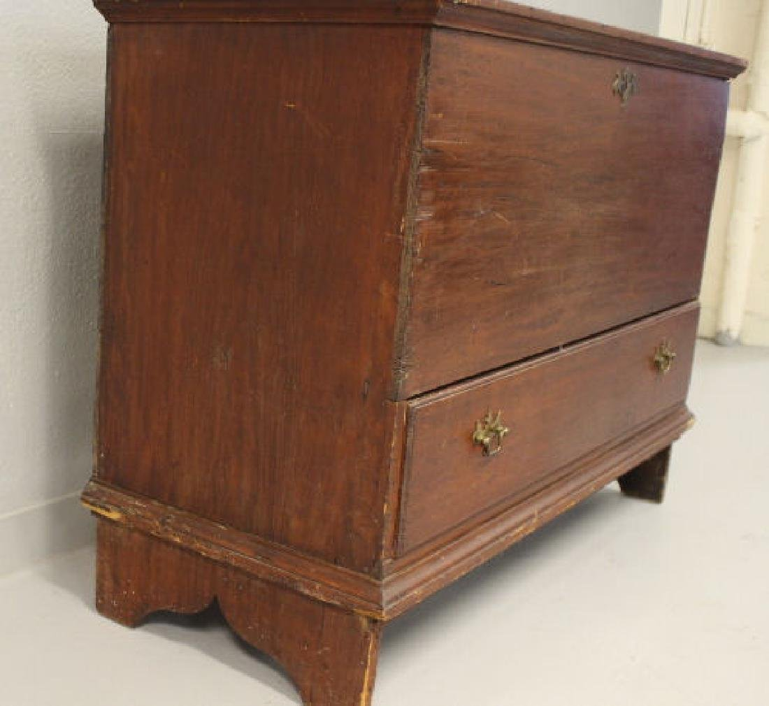 18th C  Blanket Chest / Box - Original Red Stain & - 9