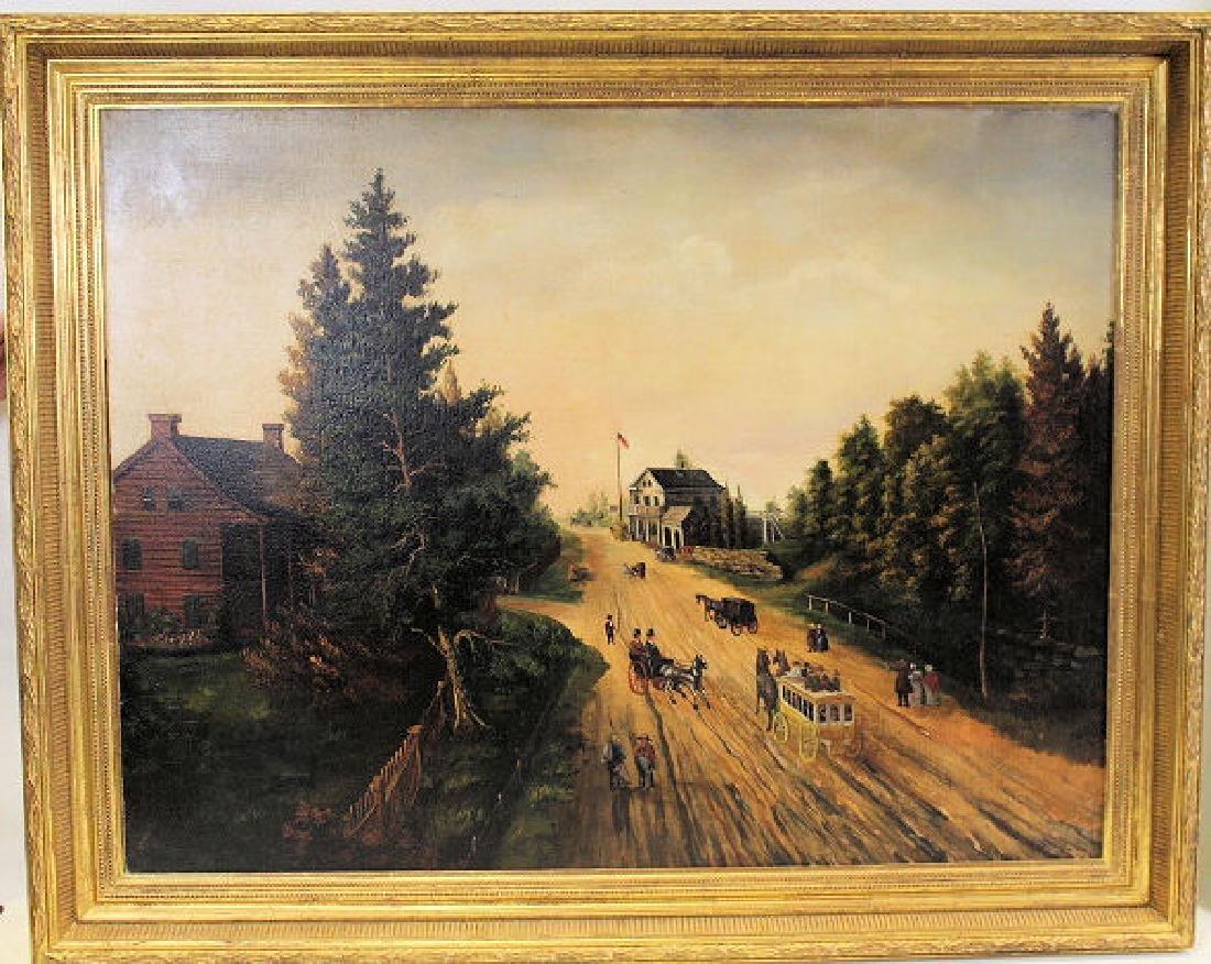 Large Oil / C Painting of Mid-19th C Street Scene