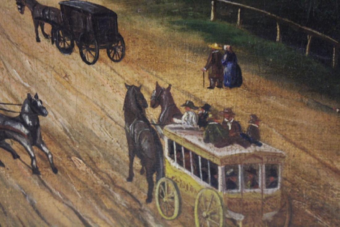 Large Oil / C Painting of Mid-19th C Street Scene - 2