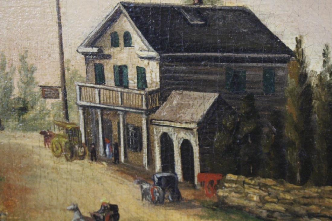 Large Oil / C Painting of Mid-19th C Street Scene - 3