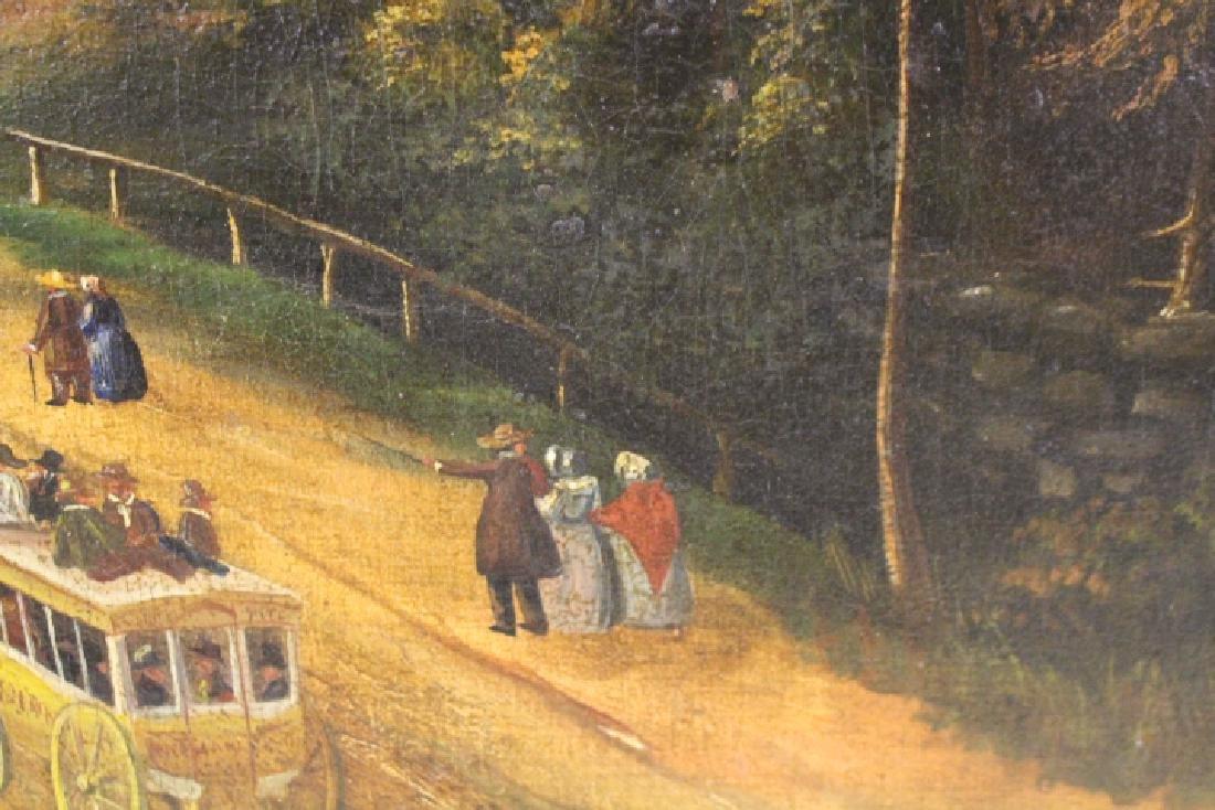 Large Oil / C Painting of Mid-19th C Street Scene - 4