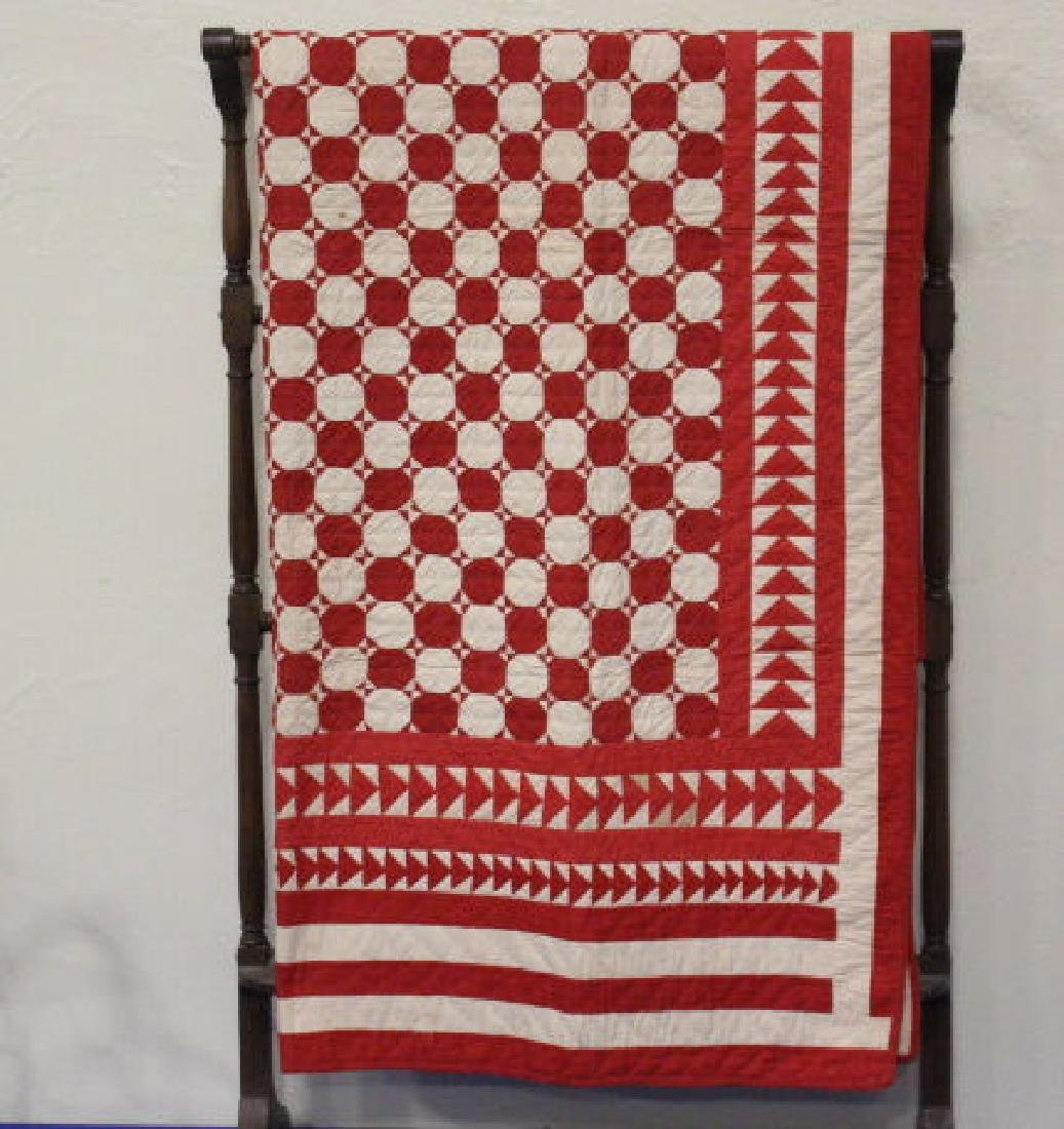 19th C Child's Red & White Quilt - Wild Goose Chase