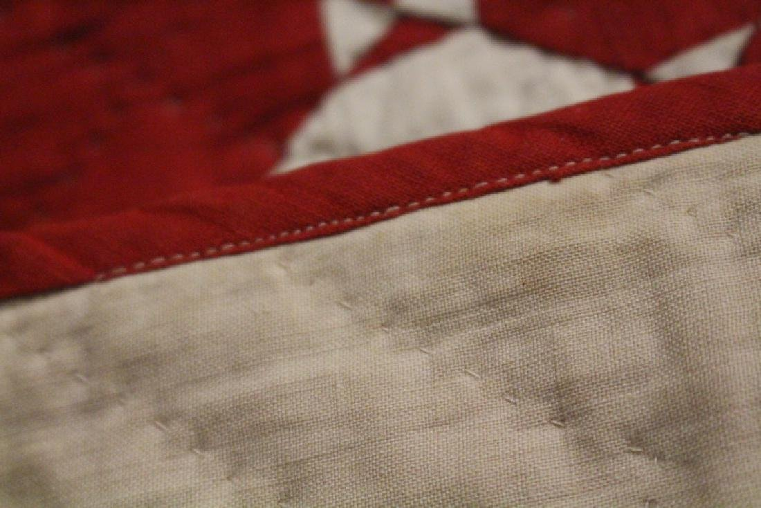 19th C Child's Red & White Quilt - Wild Goose Chase - 3