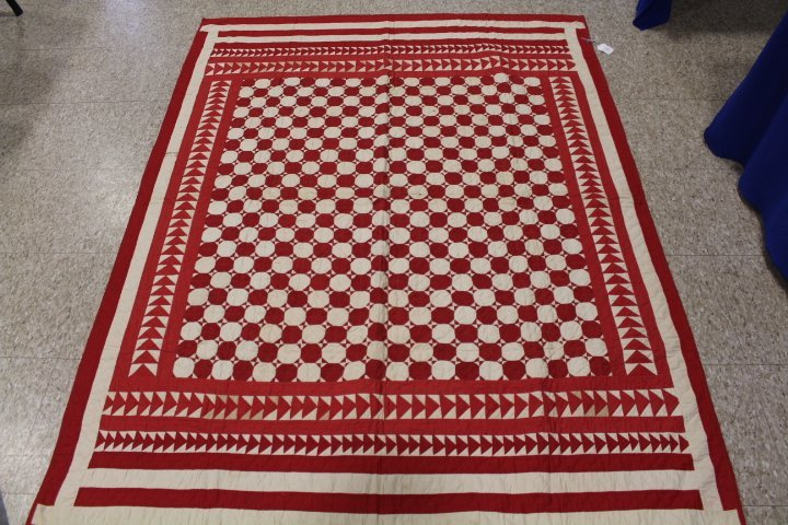 19th C Child's Red & White Quilt - Wild Goose Chase - 5