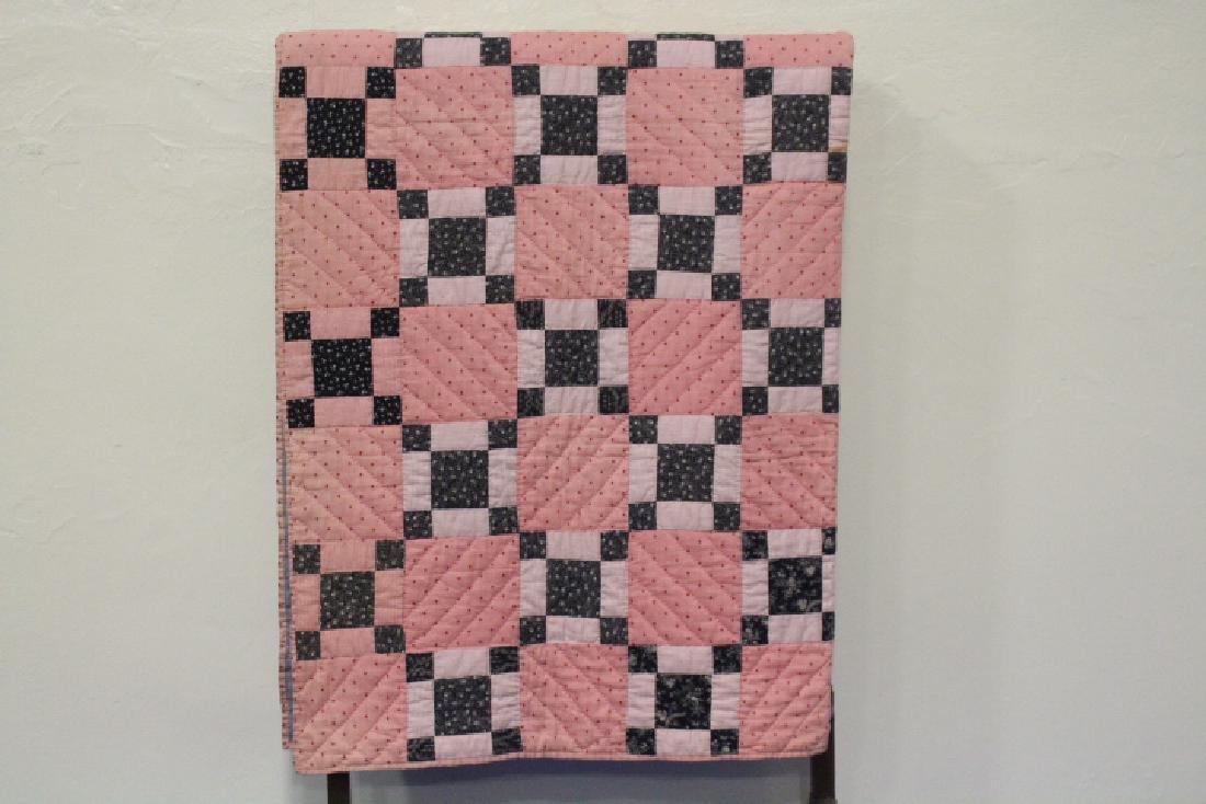 9 Patch Antique Quilt - Pink & Navy