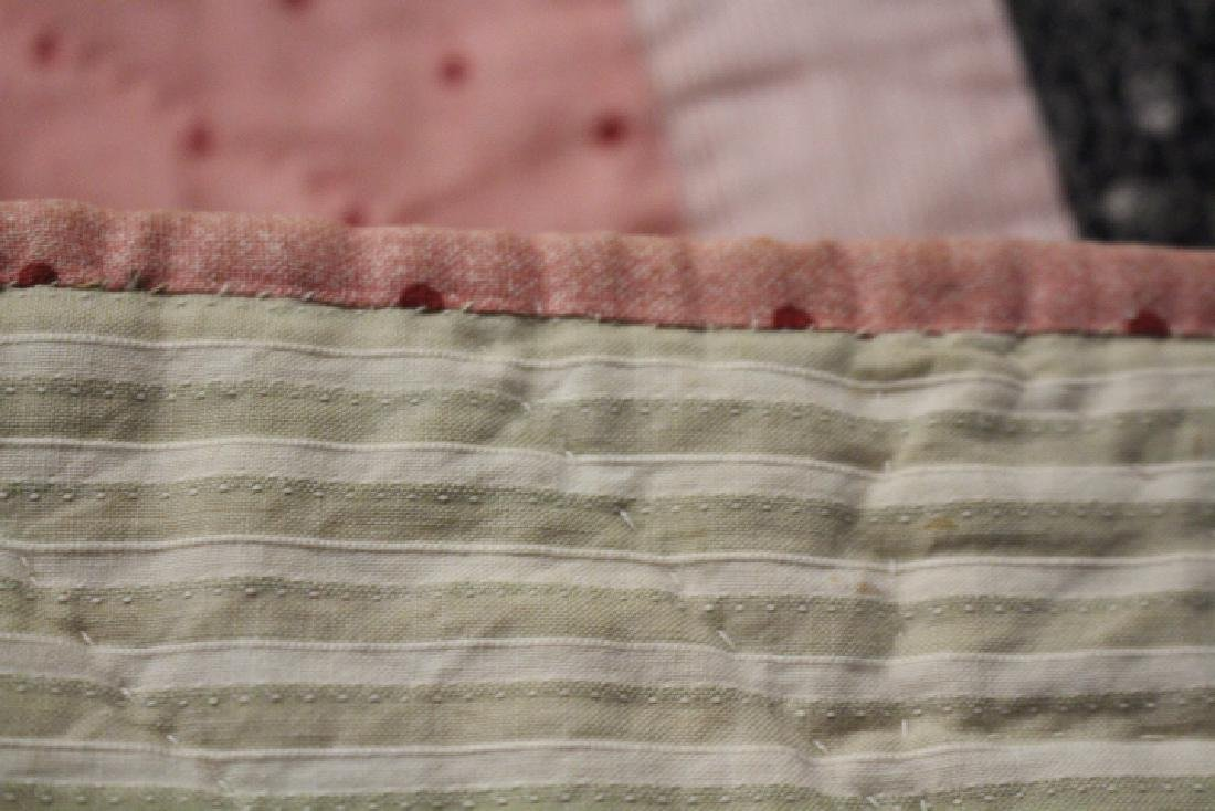 9 Patch Antique Quilt - Pink & Navy - 3