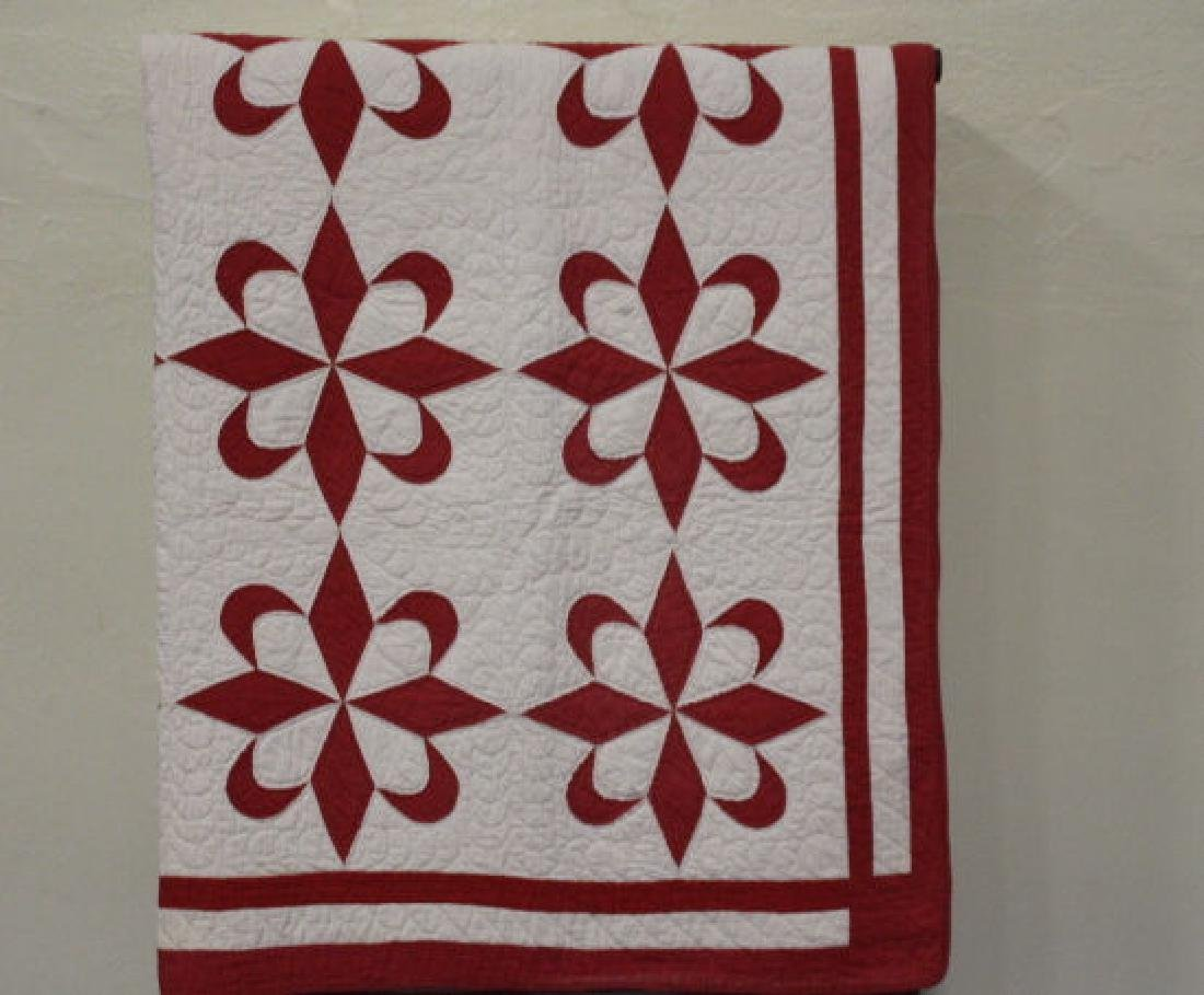 Red and White Antique Pieced Quilt
