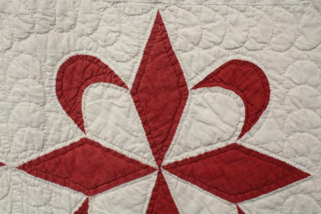 Red and White Antique Pieced Quilt - 2