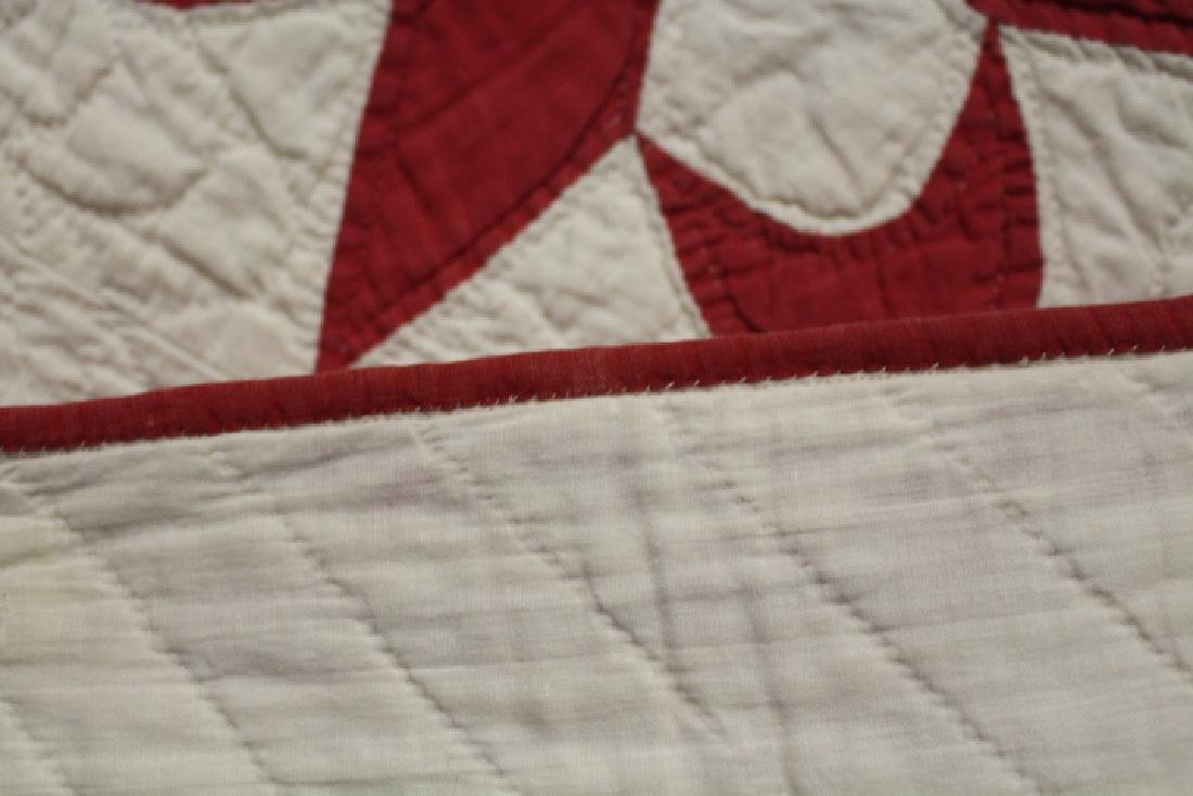 Red and White Antique Pieced Quilt - 3