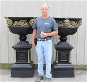 Monumental Cast Garden Urns w/Cast Masks