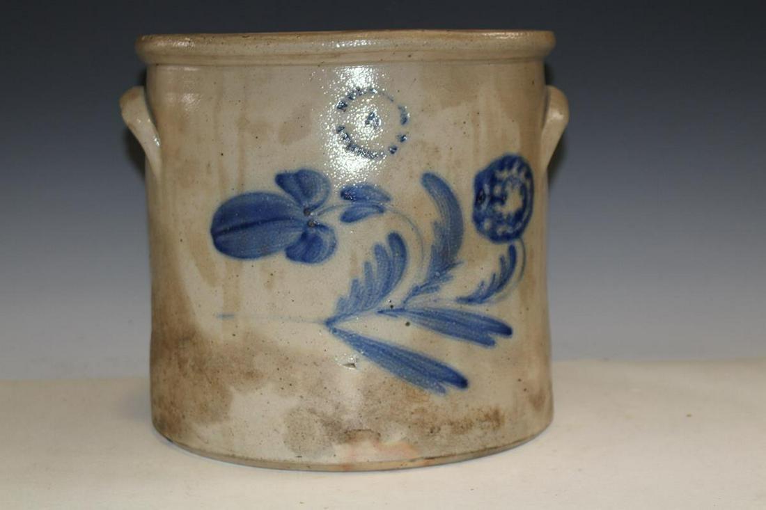 N. Clark Stoneware Cobalt Decorated Crock