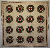 Muted Red & Green on White Star Quilt