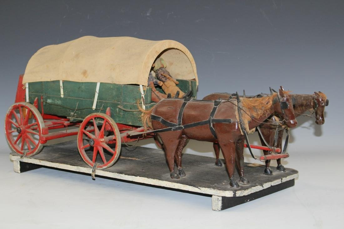 1880 Folk Art Detailed Covered Wagon & Horses
