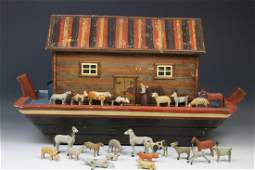 19th C Lg Noah's Ark w/ Stick Leg Animals & Noah