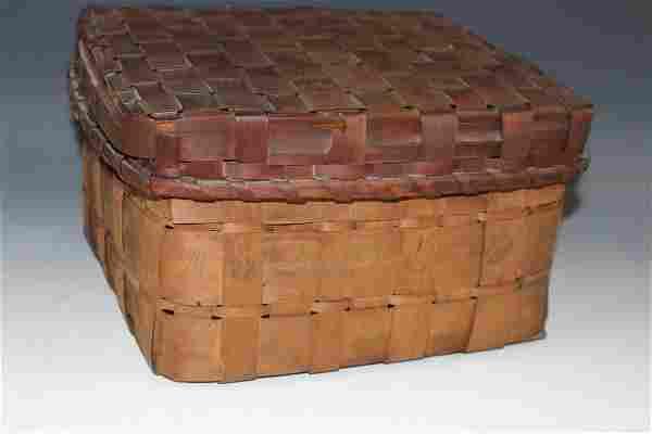 Indian Feather Gathering Basket w/ Potato Stamp