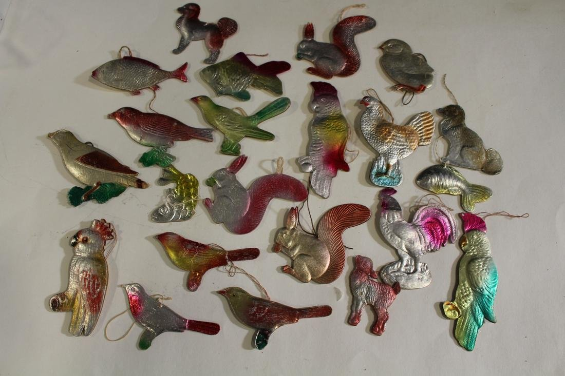 Group of 22 Dresden Paper Christmas Ornaments