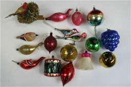Group of Blown Glass Christmas Tree Ornaments