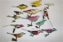 Group Blown Glass Clipon Bird Ornaments  Fish