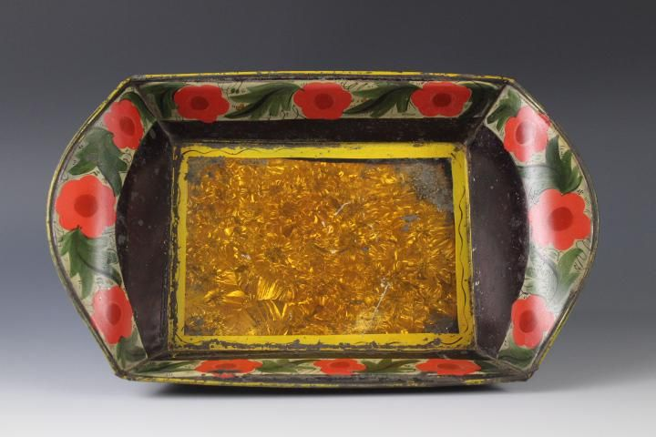 Tin Bread Tray Tole Painted Crystalline Attr Filley