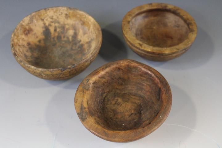 3 Small Early Wooden Carved Bowls