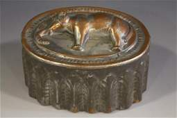 Antique Copper  Tin Food Mold  Elephant