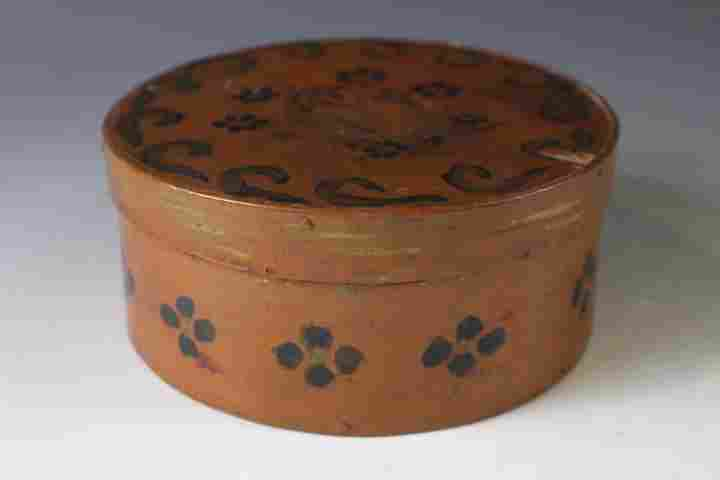 19th C Paint Decorated Small Round Pantry Box