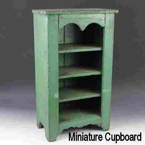 Blue Painted Child Size Pine Cupboard