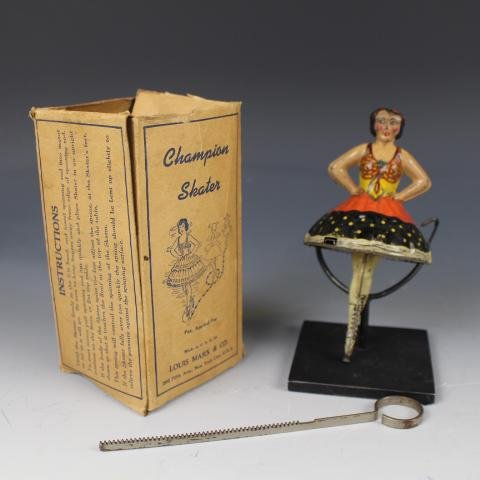 Louis Marx Champion Skater Wind-Up Toy w/ Box