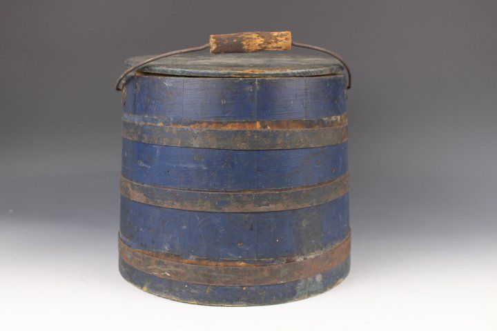 19th C Blue Painted Firkin w/ Lid & Bail Handle